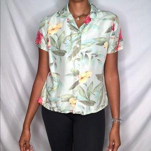 LINDEN HILL button down silk Hawaiian floral Top M